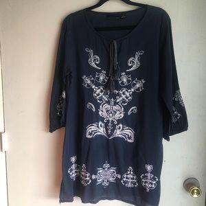 Cynthia Rowley Boho Tunic Embroidered Navy Dress L